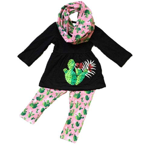 Cactus Outfit Black Pink Scarf Top And Pants