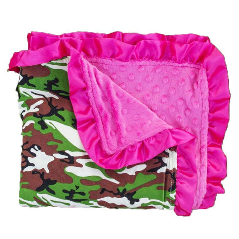 Camo Hot Pink Minky Blanket