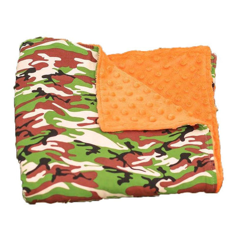 Camo Orange Minky Blanket