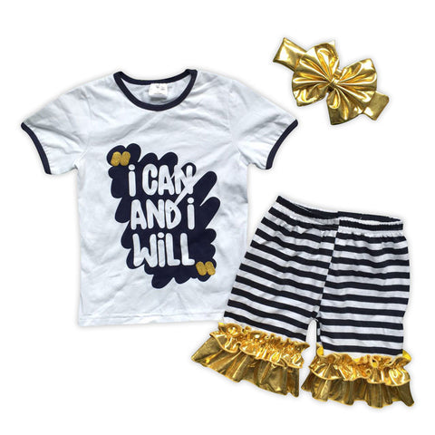 Can And Will Black Stripe Gold Shorts Set