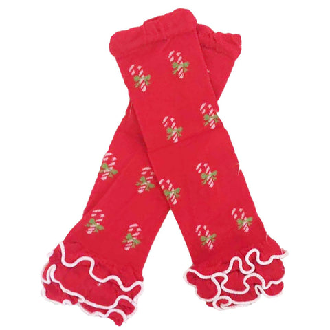 Candy Cane Leg Warmers Red Ruffle