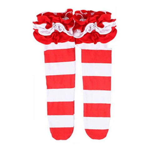 Candy Cane Long Socks Red Stripe Ruffle