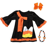 Candy Corn Dress Black Orange Ruffle