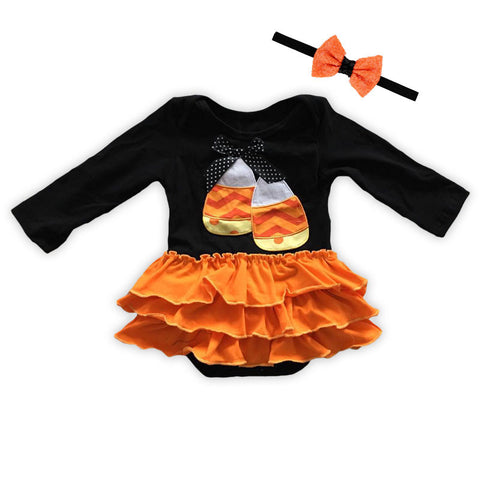 Candy Corn Orange Ruffle Onesie