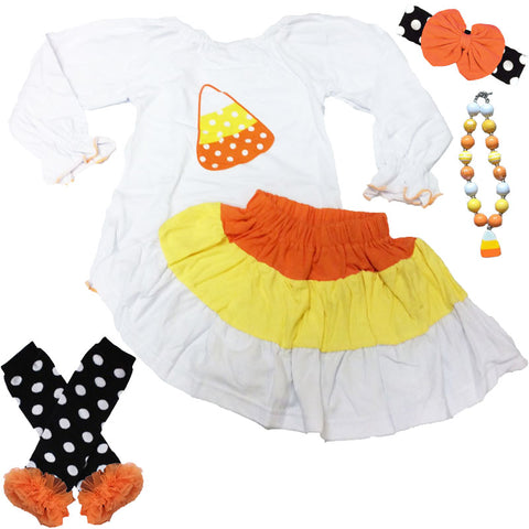 Candy Corn Skirt And Top Polka Dot