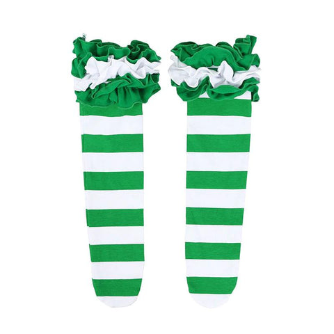 Candy Long Socks Green Stripe Ruffle