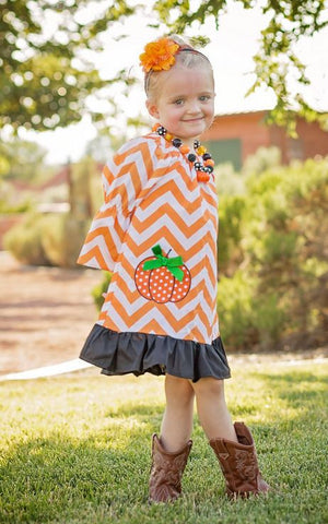 Fall Chevron Orange Ruffle Dress