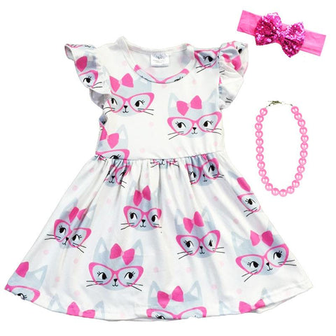 Cat Glasses Dress Pink White Polka Dot