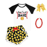 Cause Im All About That Base Softball Outfit Raglan Top And Shorts