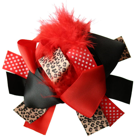 Cheetah Red Hair Bow Feather Polka Dot Black