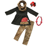 Cheetah Santa Outfit Red Sequin Black Top Pants Scarf