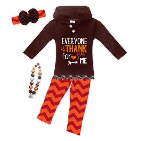Chevron Thankful For Me Hoodie Pant Set