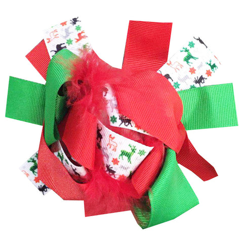 Christmas Deer Hair Bow Red Feather Green