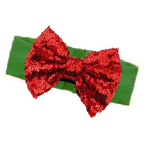 Christmas Green Headband Red Sequin Bow