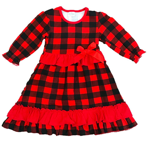Christmas Morning Dress Red Plaid Buffalo Ruffle Mommy Me