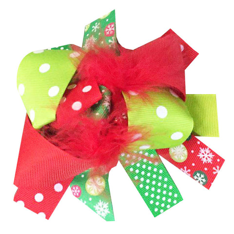 Christmas Snowflake Hair Bow Polka Dot Red Feather
