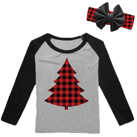 Christmas Tree Buffalo Checkered Plaid Shirt Long Sleeve Mommy Me