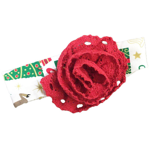 Christmas Tree Headband Red Lace Flower
