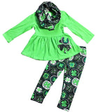 Clover Circles Outfit Green Scarf Top And Pants