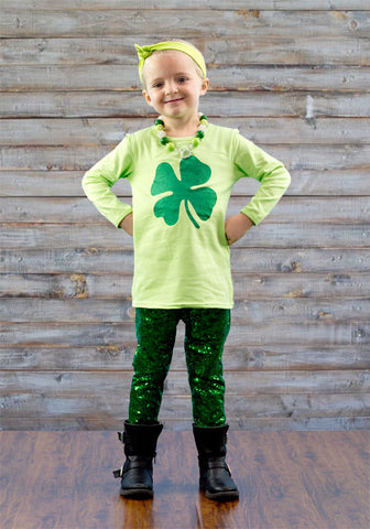 Clover Green Sequin Pant Set
