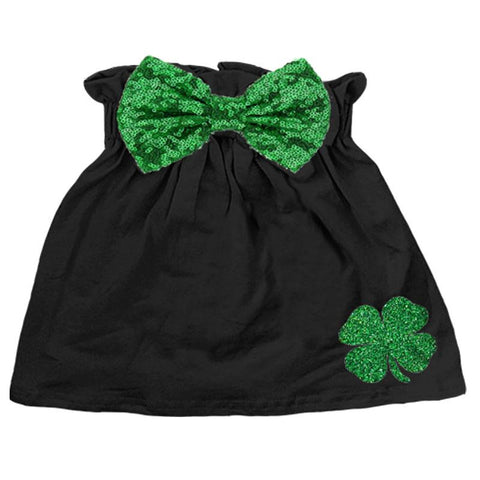 Clover Green Skirt Sparkle Sequin Bow Black