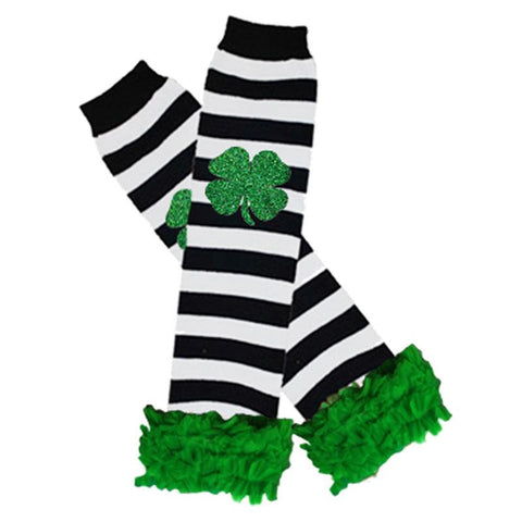 Clover Leg Warmers Green Ruffle Black Stripe