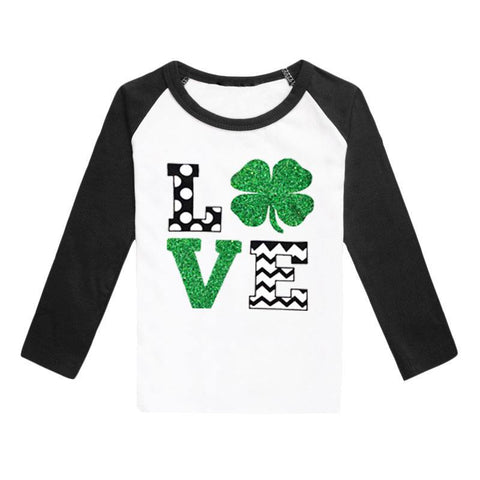 Clover Love Shirt Green Sparkle Black Raglan