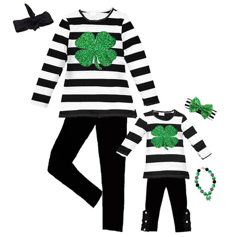 Clover Mommy Me Outfit Green Black Stripe Top And Pants