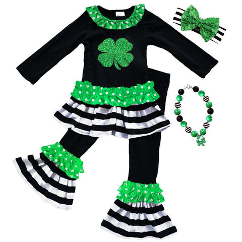 Clover Outfit Green Polka Dot Black Stripe Top And Pants