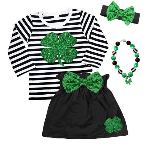 Clover Outfit Green Sparkle Black Stripe Top And Skirt