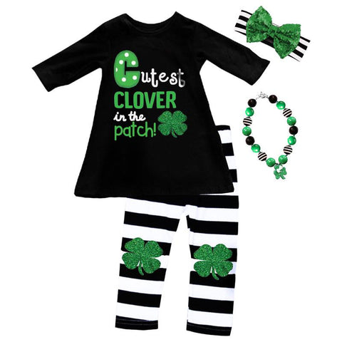 Clover Patch Outfit Green Black Stripe Top And Pants
