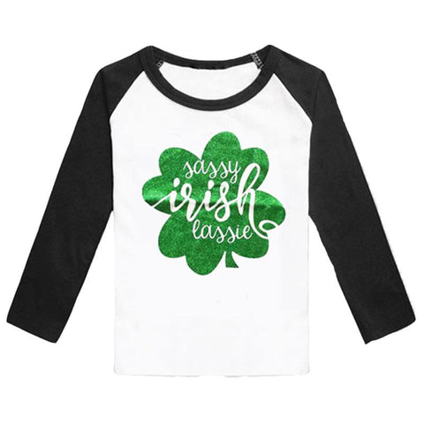 Clover Sassy Irish Lassie Shirt Green Black Raglan