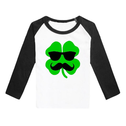 Clover Shirt Glasses Mustache Green Black Raglan