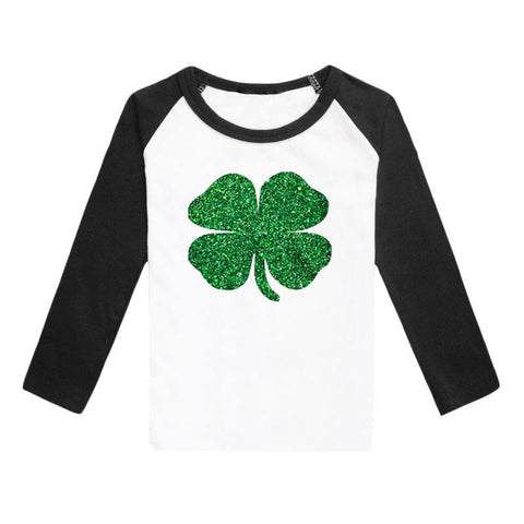 Clover Shirt Green Sparkle Black Raglan