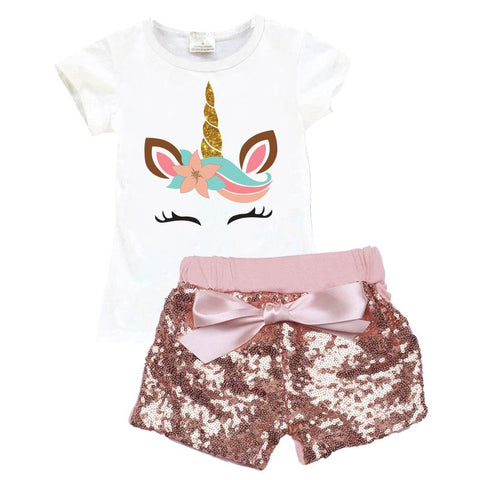 Coral Gold Unicorn Outfit Sequin Top And Shorts