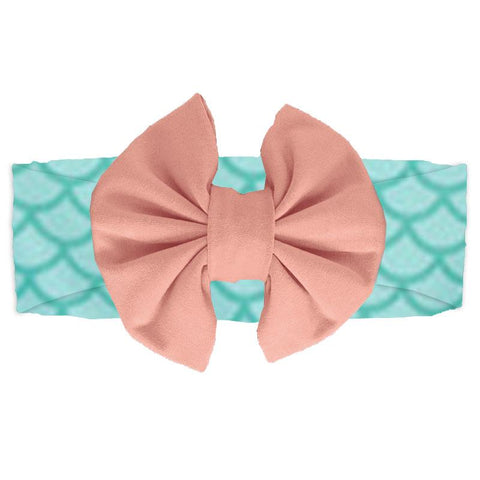 Coral Mermaid Headband Teal Messy Bow
