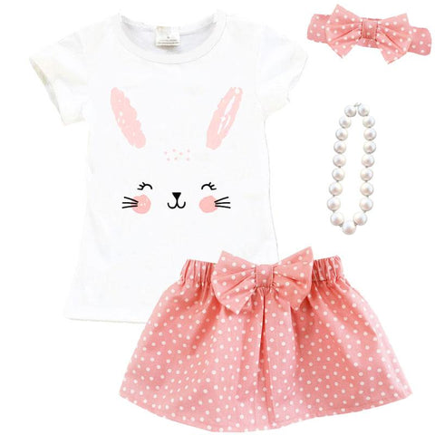 Coral Pink Bunny Face Outfit Polka Dot Top And Skirt