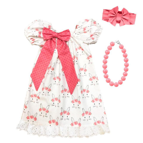 Coral Pink Bunny Floral Lace Dress Ruffle