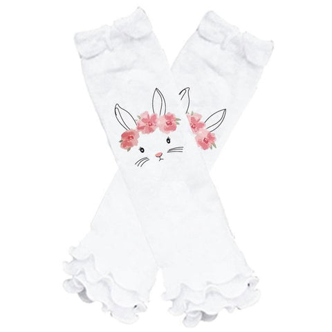 Coral Pink Bunny Floral Leg Warmers Ruffle