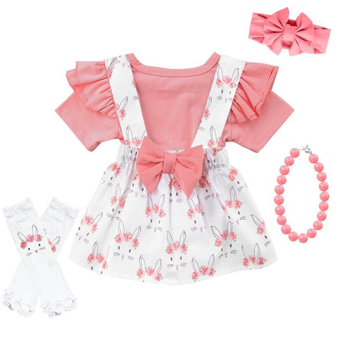 Coral Pink Bunny Floral Outfit Ruffle Top And Jumper