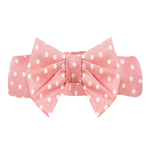 Coral Pink Polka Dot Messy Bow Headband