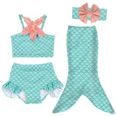 Coral Starfish Mermaid Swimsuit Teal Two Piece And Tail