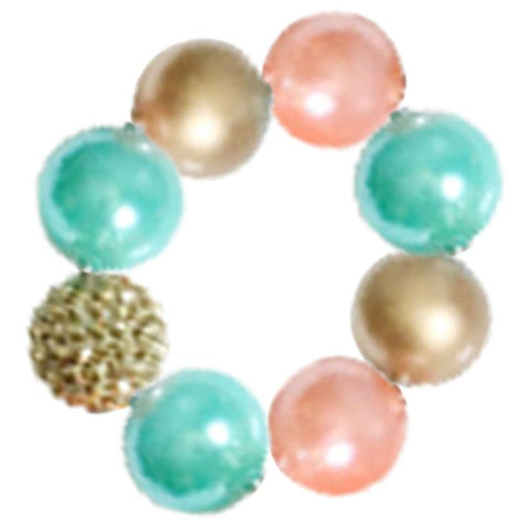 Coral Teal Bracelet Gold Sparkle Chunky Gumball