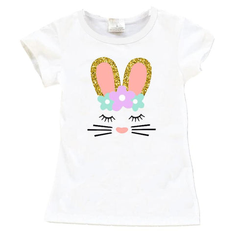 Coral Teal Bunny Shirt Gold Sparkle Flowers