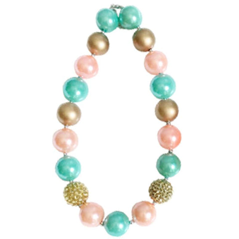 Coral Teal Necklace Gold Sparkle Chunky Gumball