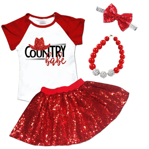 Country Babe Red Sequin Top And Skirt