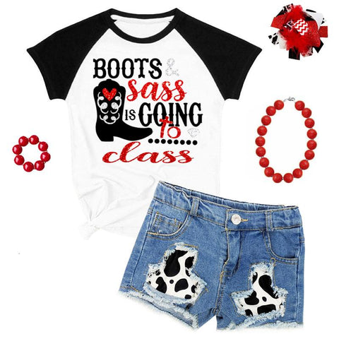 Cow Denim Boots Sass Class Outfit Top And Shorts