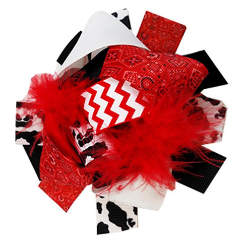 Cow Red Bandana Hair Bow