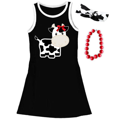 Cow Tank Dress Red Bow Black White