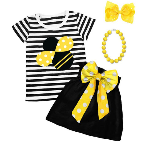 Cute As Can Bee Outfit Black Stripe Top And Skirt